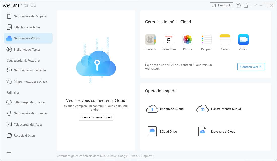 Se connecter au compte iCloud