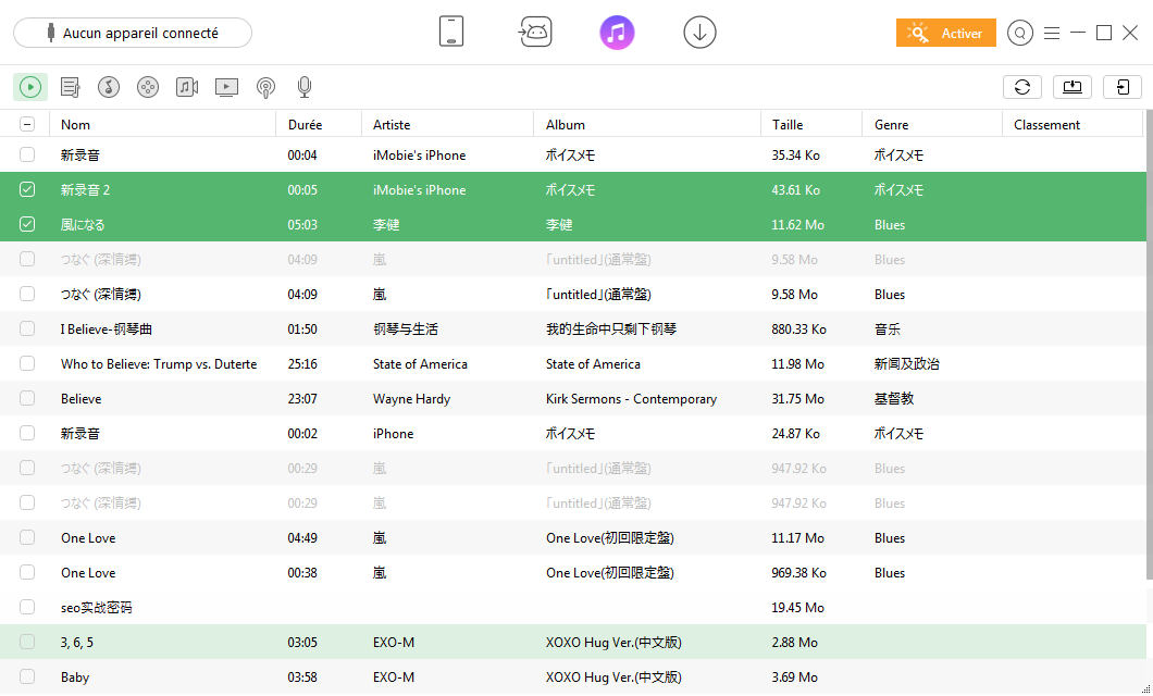Transfert de fichiers de la bibliothèque iTunes sur un périphérique Android