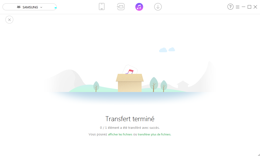 Page de transfert de fichiers terminée