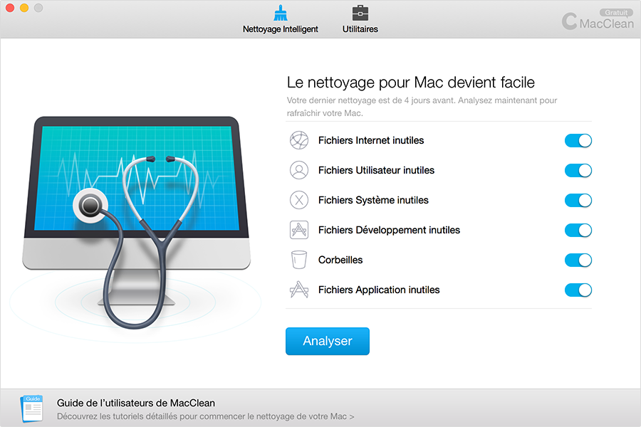 L'interface principale de MacClean, nettoyage intelligent