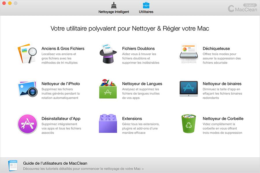 L'interface principale de MacClean, Utilitaires.
