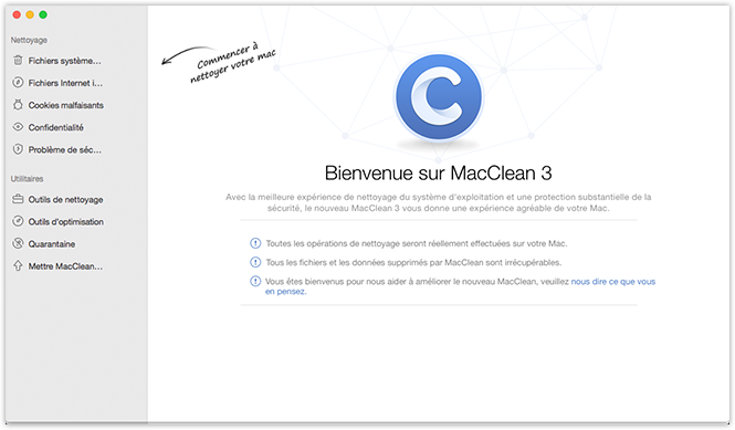 Interface principale de MacClean