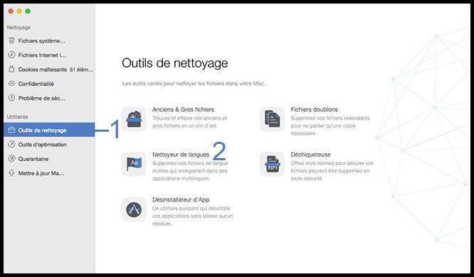 Sélectionner l'option Nettoyeur de langues