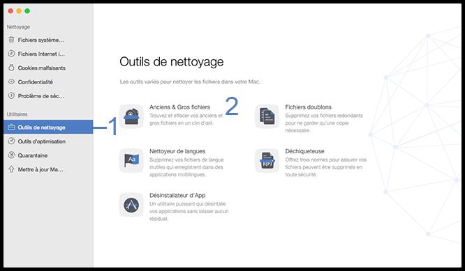 Sélectionner l'option Ancien & Gros fichiers
