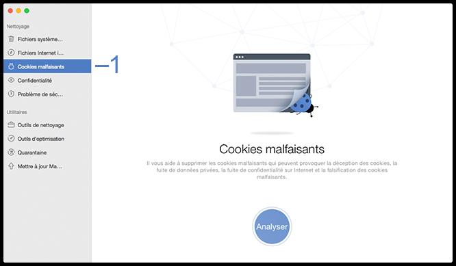 Sélectionner la fonctionnalité Cookies malfaisants