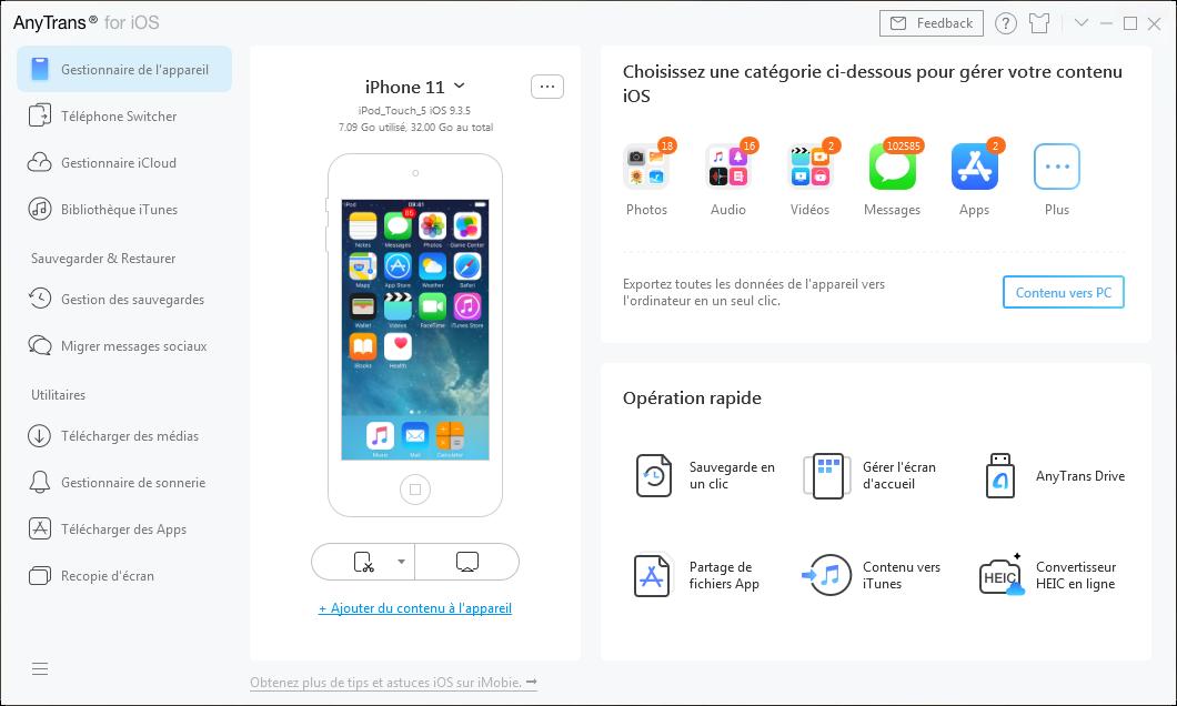 Appareil iOS connecté