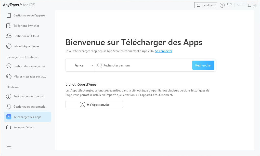 L'interface principale de Télécharger des Apps