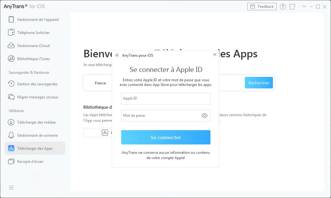 Se connecter à Apple ID dans Télécharger des Apps