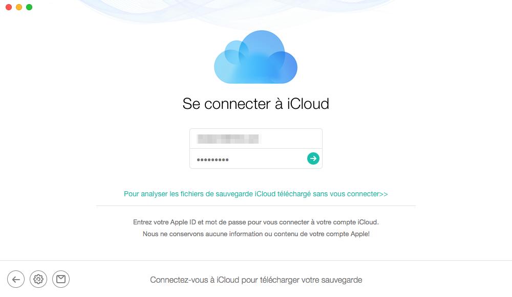 Vous connectez à iCloud