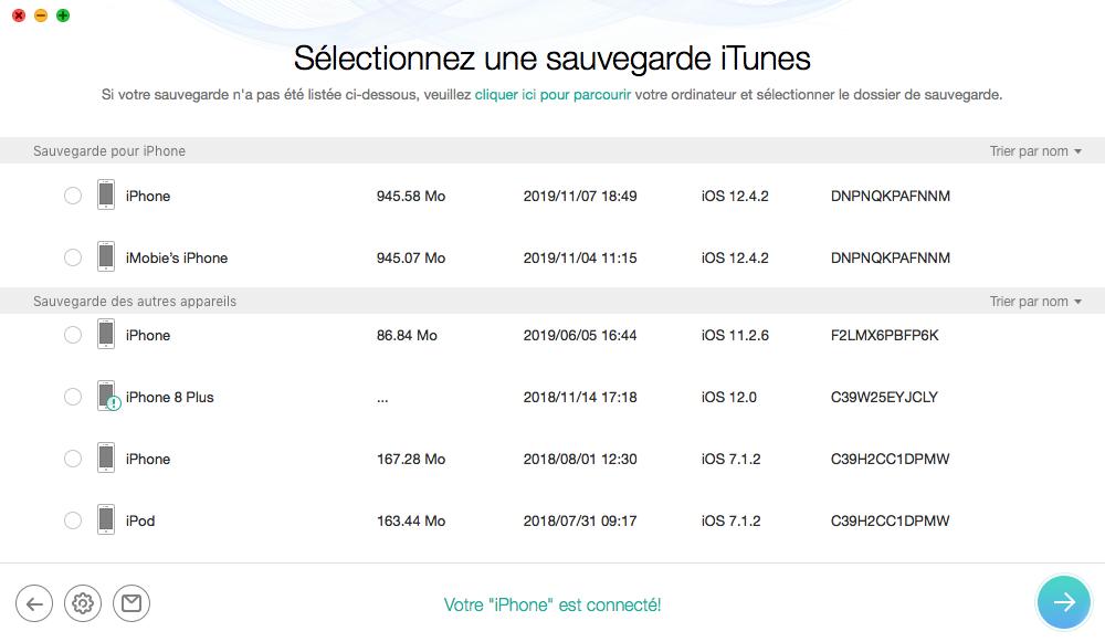 Sélectionner les sauvegardes iTunes