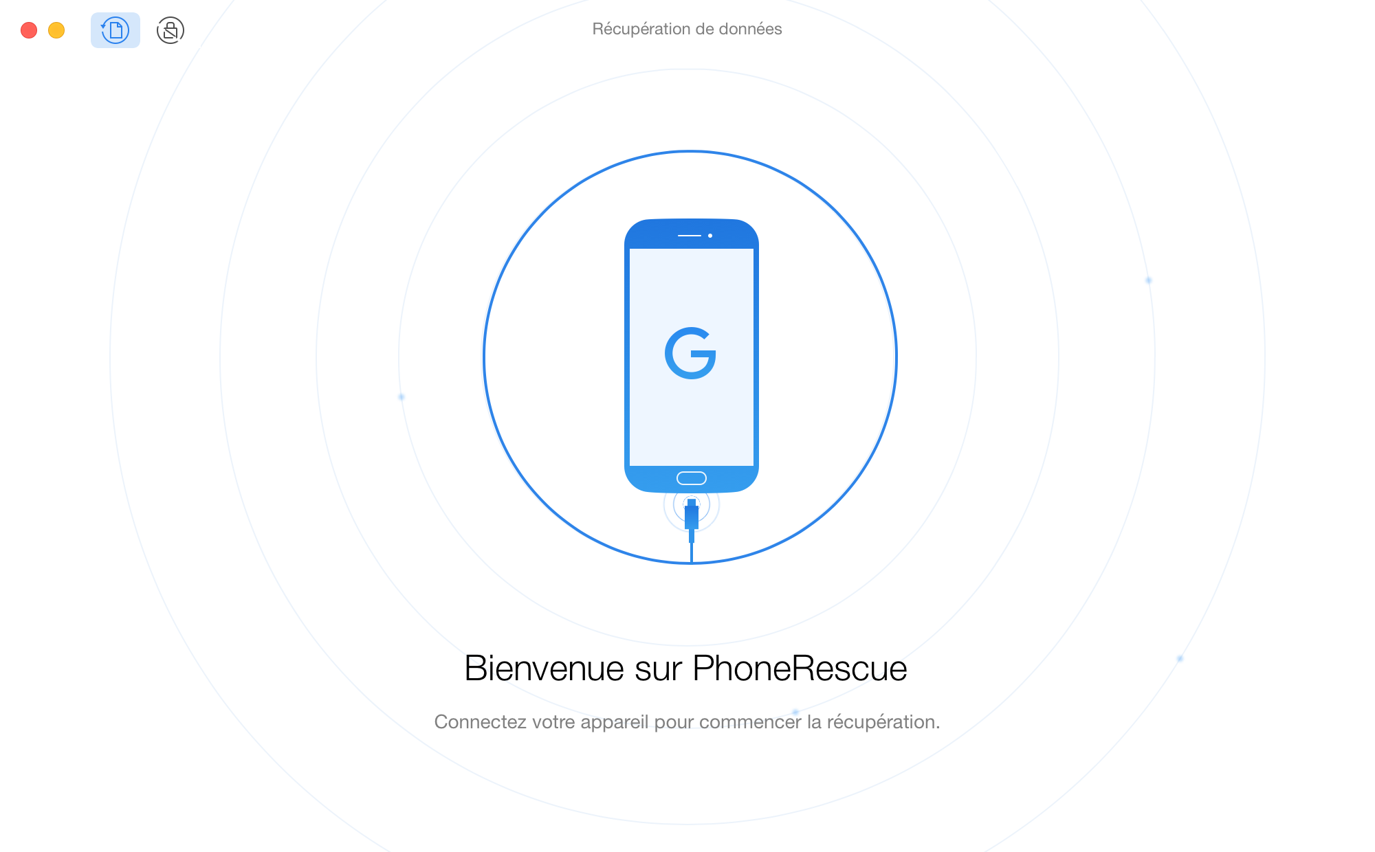 Interface d'accueil de PhoneRescue pour Google