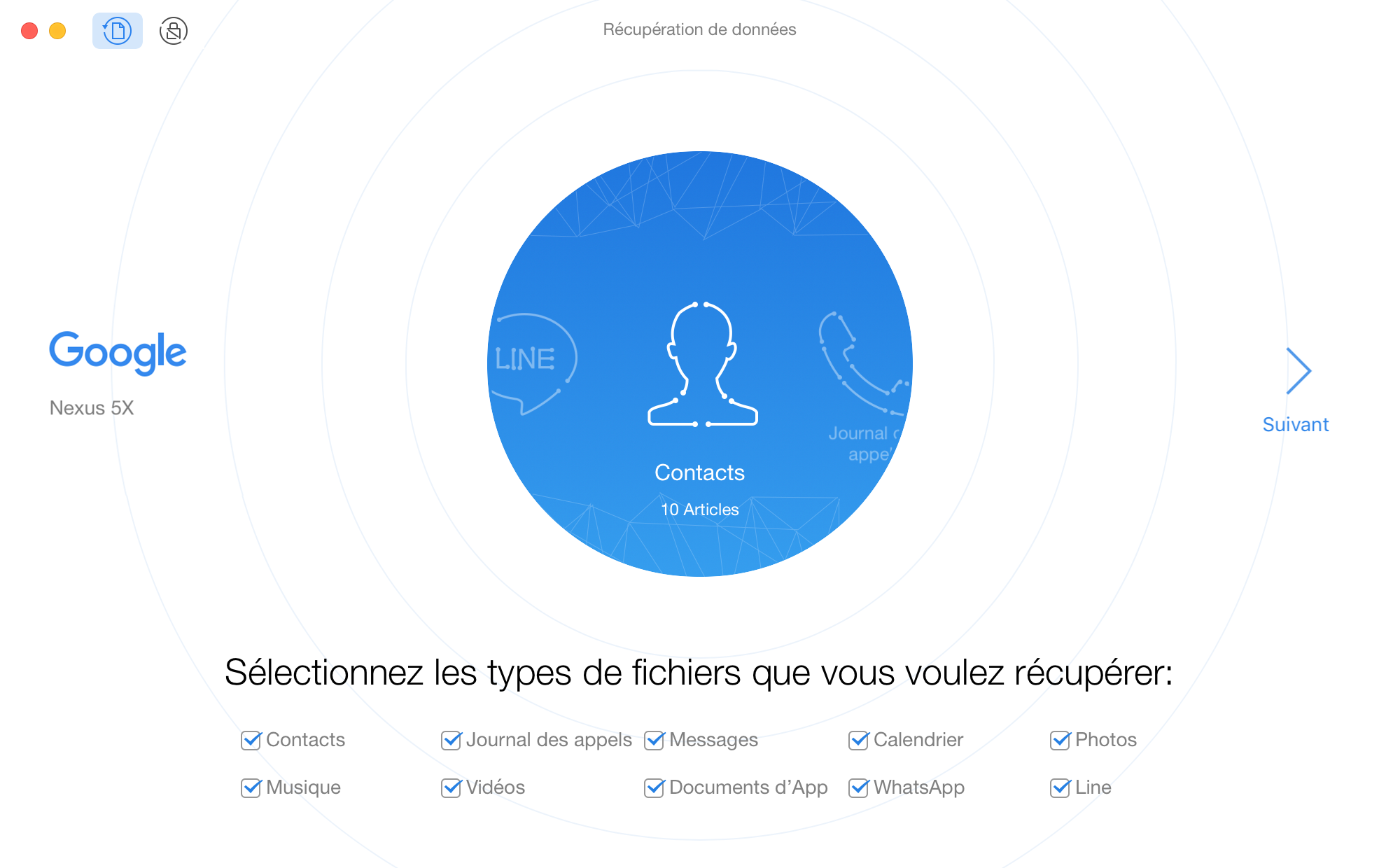 Interface principale de PhoneRescue pour Google