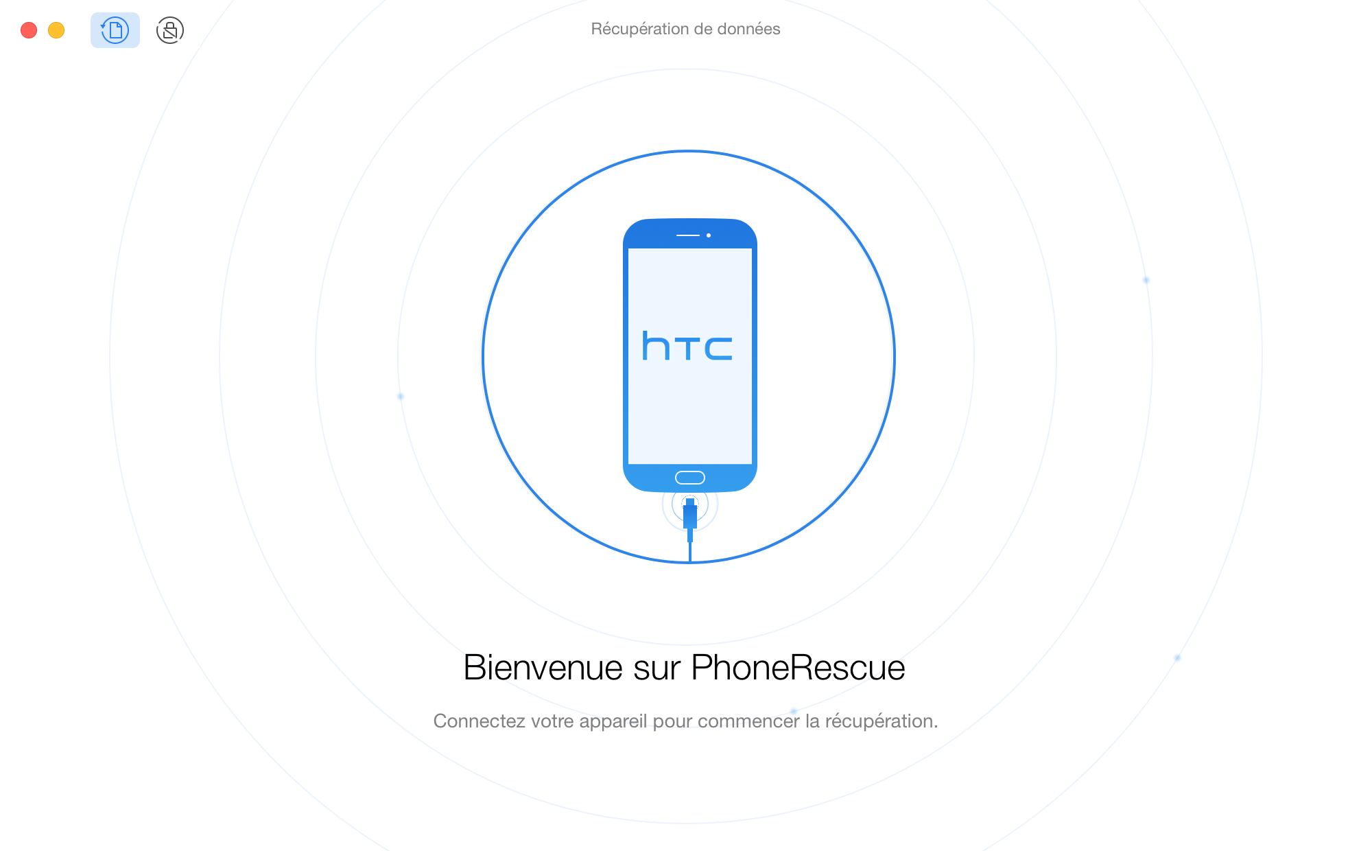 L'interface d'accueil de PhoneRescue pour HTC