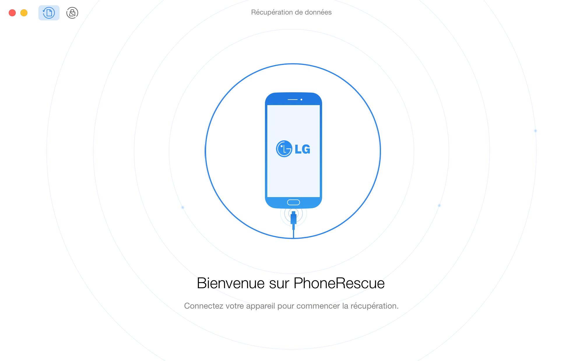 Interface d'accueil de PhoneRescue pour LG