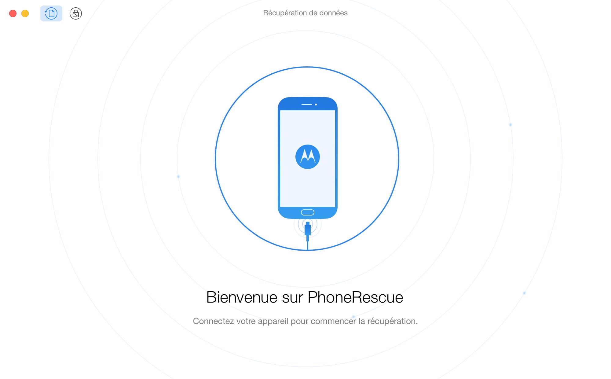 Interface d'accueil de PhoneRescue pour MOTOROLA