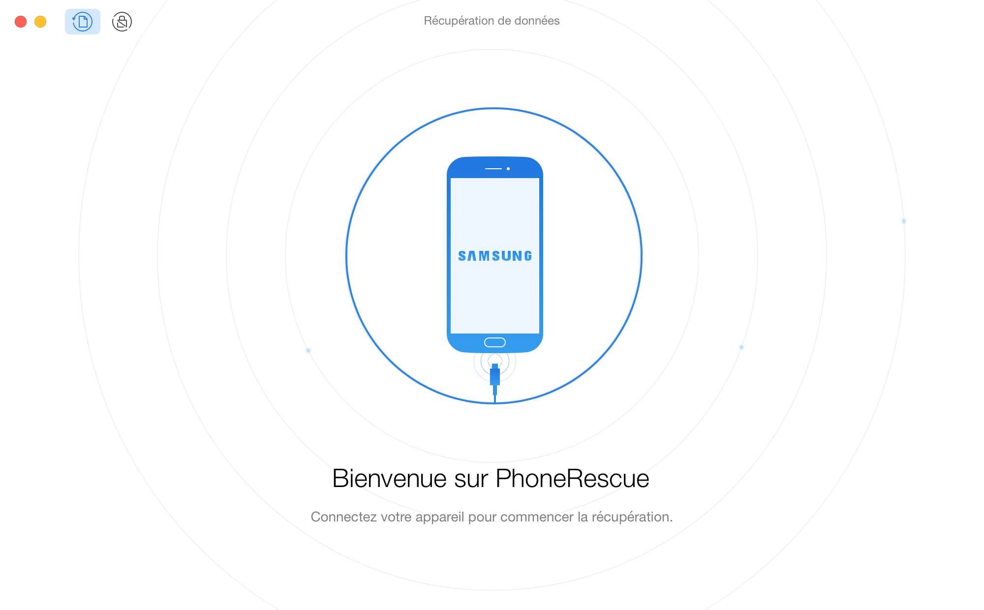Interface d'acueil de PhoneRescue pour Android