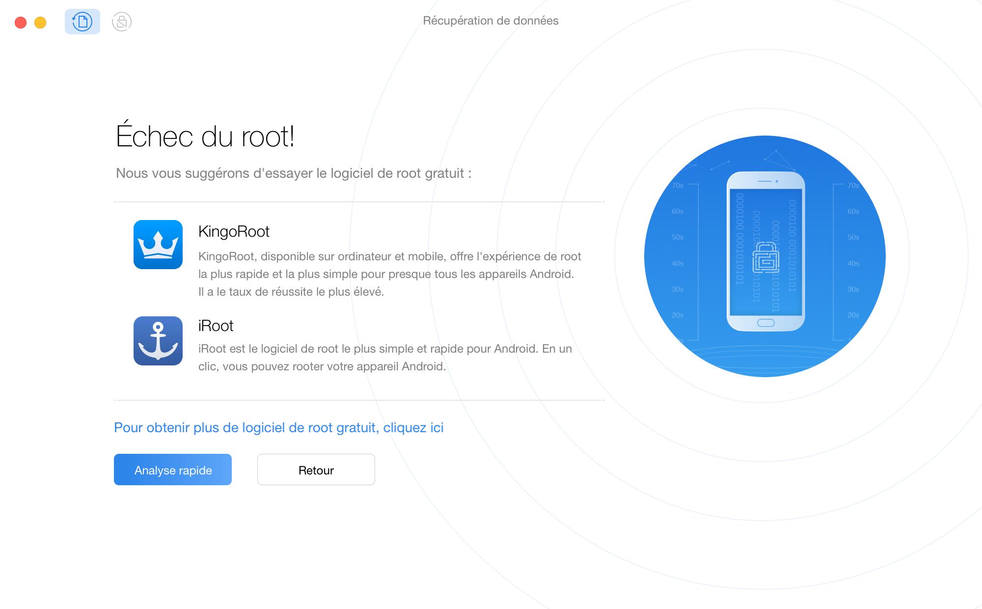 Échec du root de l'appareil Android