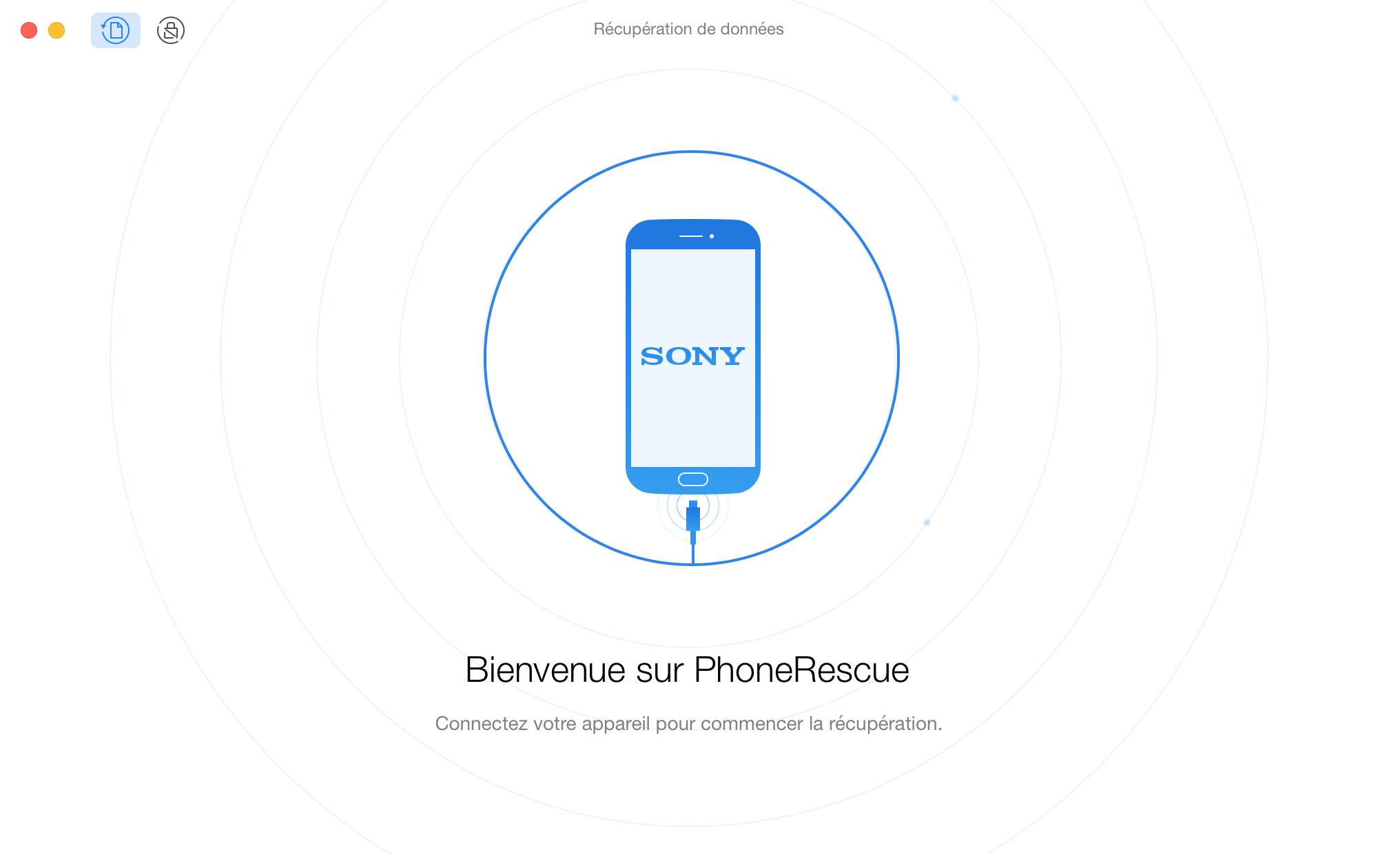L'interface d'accueil de PhoneRescue pour Sony