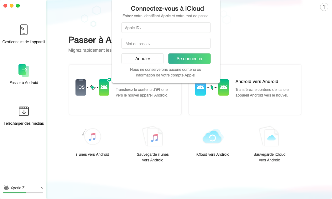 Sauvegarde iCloud vers Android - 3