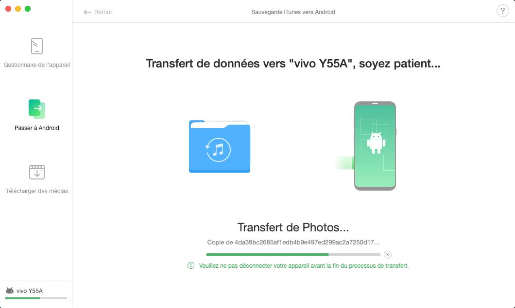 Sauvegarde iTunes vers Android - 4