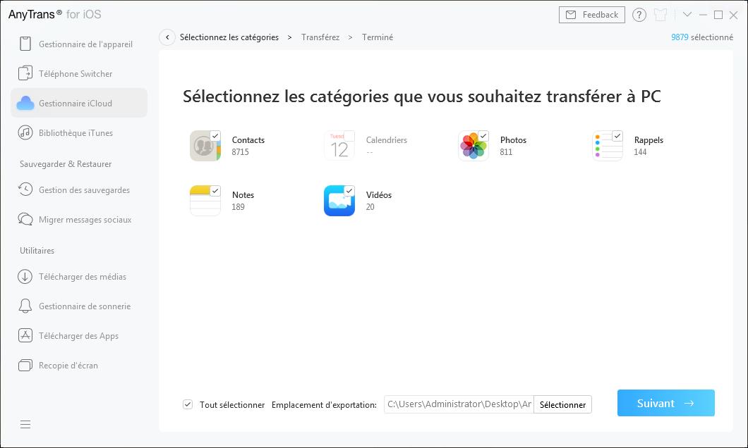 Sélectionnez les fichiers à transférer