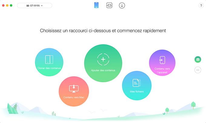 L'interface principale d'AnyTrans pour Android