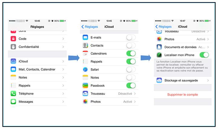 déconnecter le compte iCloud