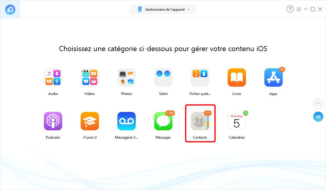 Comment transférer des contacts de l'iPhone vers l'iPhone XS (Max)/XR - Étape 2