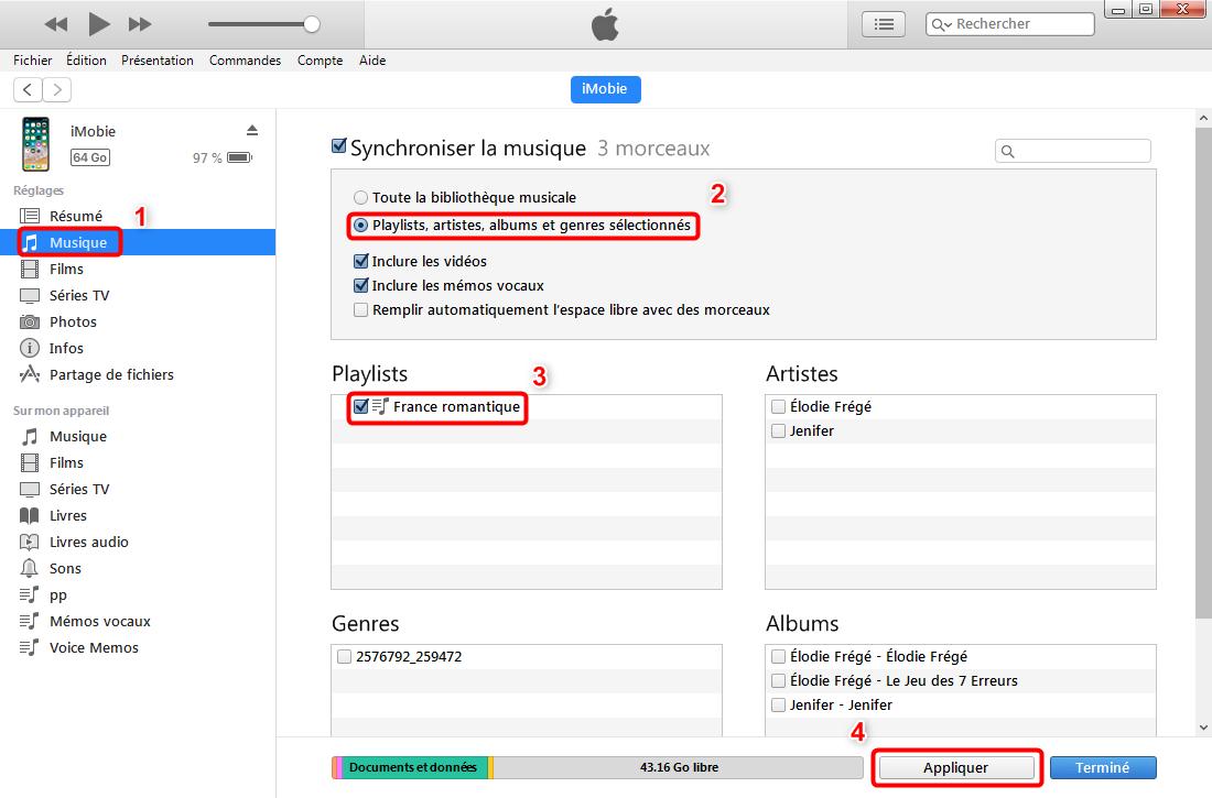 Ajouter une playlist sur iPhone 8/X – étape 3