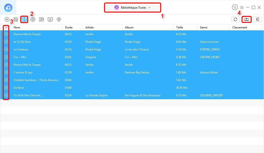 Comment exporter la musique iTunes sur la clé USB - étape 3