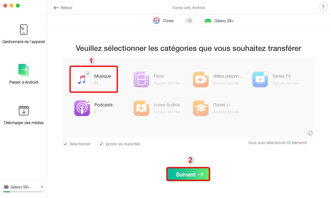 Comment transferer de la musique iTunes sur Samsung – étape 2