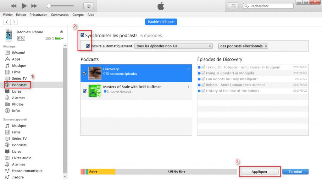 Transférer les podcasts iTunes vers iPhone avec iTunes