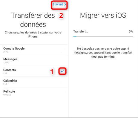 Récupérer les contacts Samsung vers iPhone - étape 2