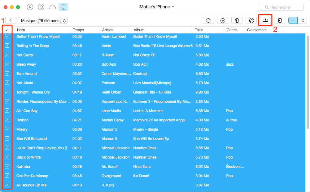 Copier de la musique depuis iPhone 8 vers Mac - étape 3