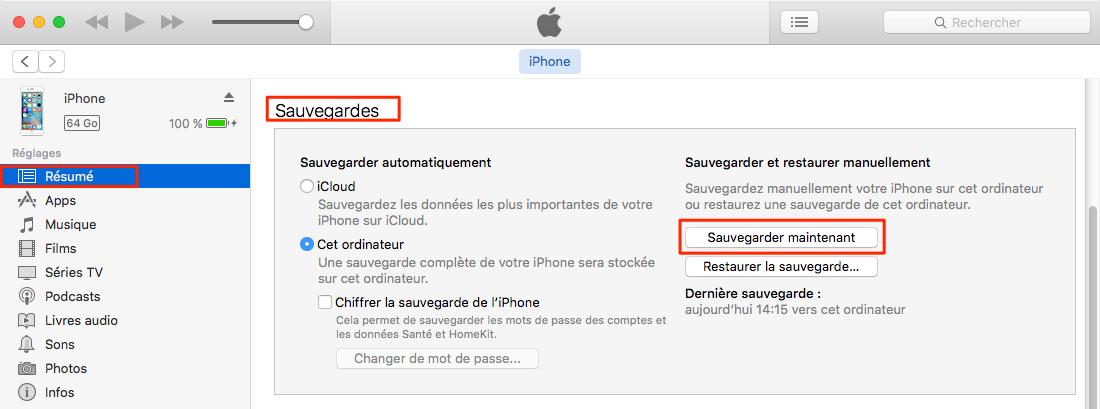 Comment sauvegarder iPhone 8 avec iTunes