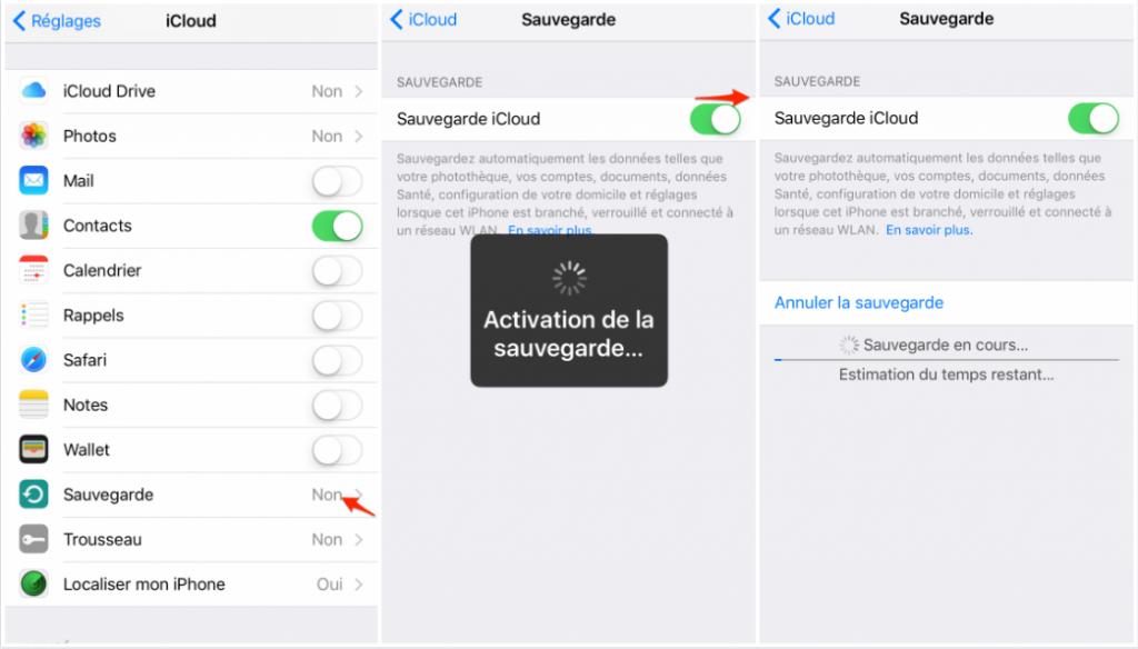 Sauvegarder iPhone 8 avec iCloud