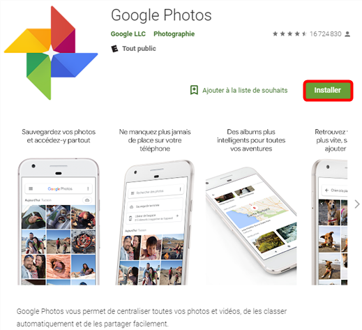 Installez Google Photos sur Google Play