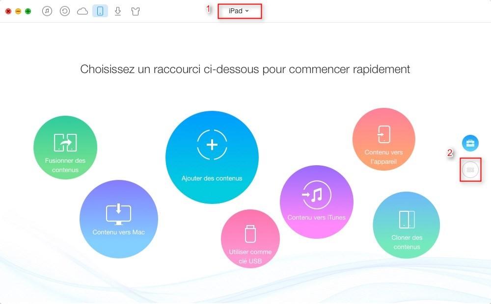 Transférer les contacts iPad vers iPad directement – étape 1