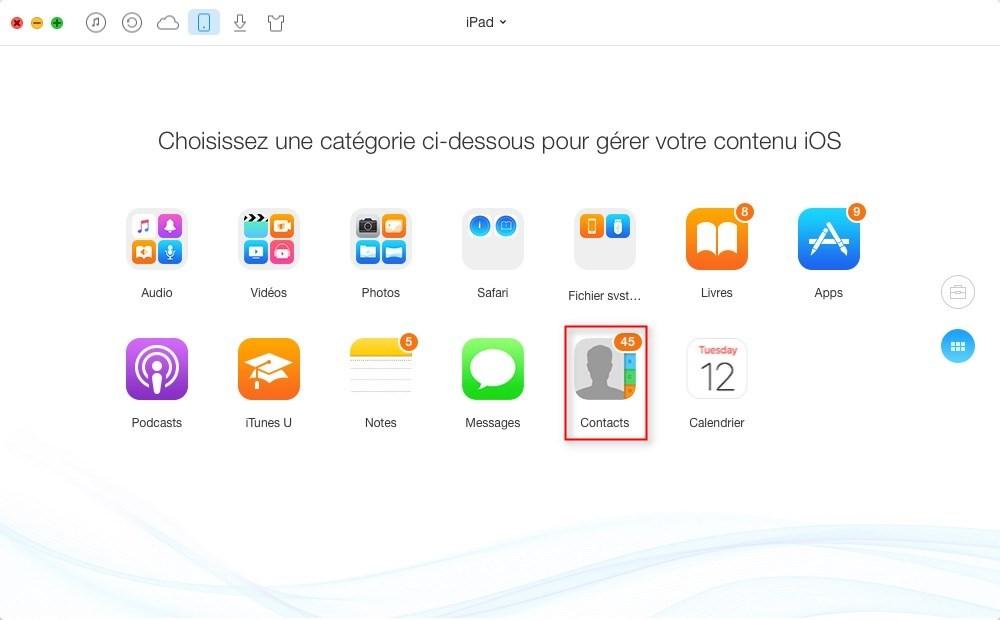 Comment transférer les contacts iPad vers iPad sans iCloud – étape 2