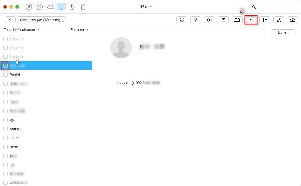 Comment transférer les contacts iPad vers iPad rapidement – étape 3
