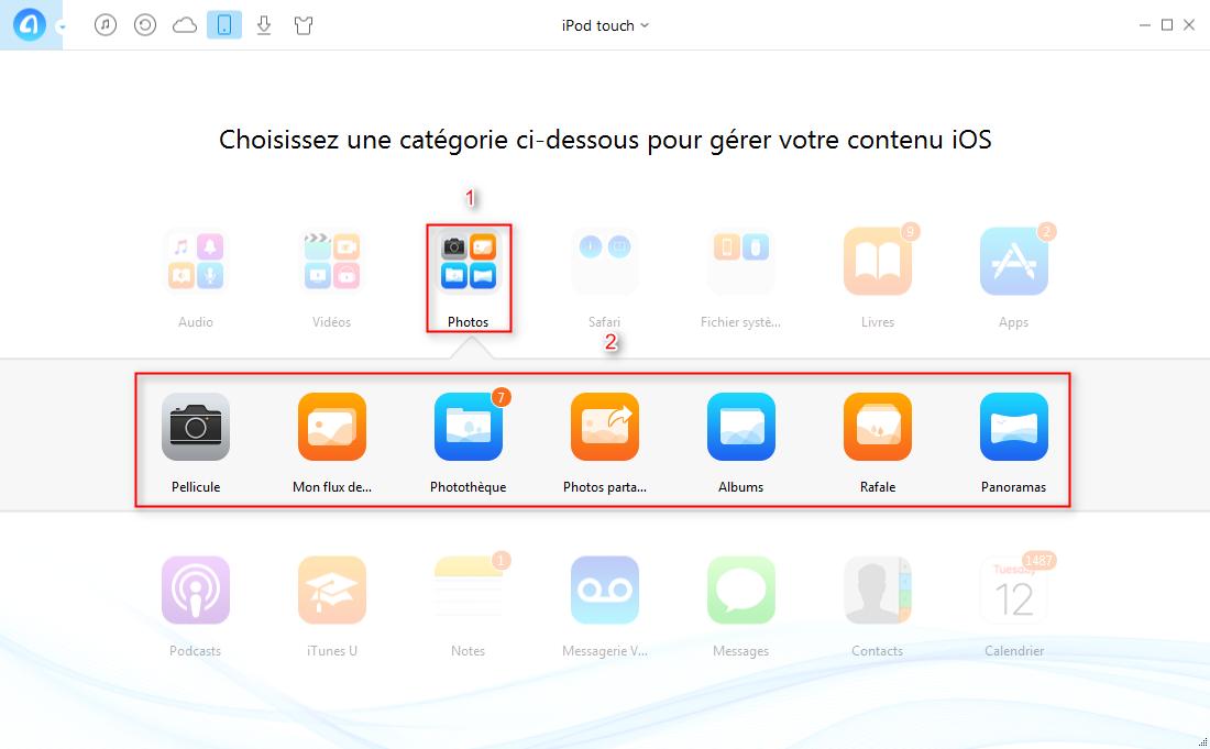 Transférer les photos iPod vers iPhone via AnyTrans – étape 2