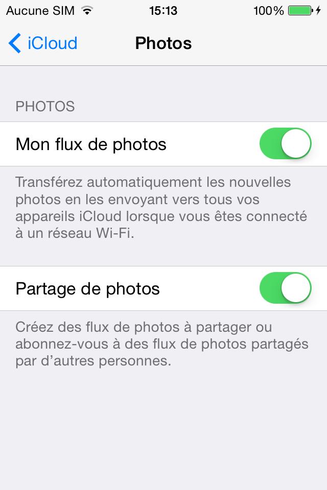 Activer Mon flux de photos pour partager les photos iPod à iPhone