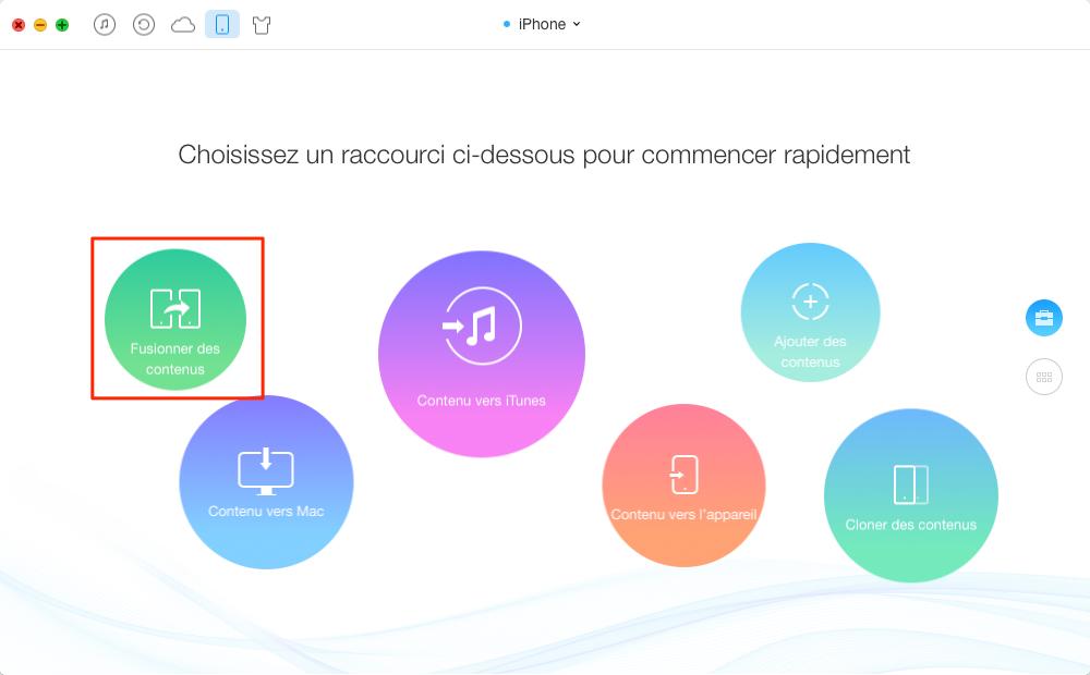 Transférer les données iPhone vers iPhone directement - étape 1