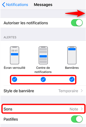 Vérifier les paramètres de notifications