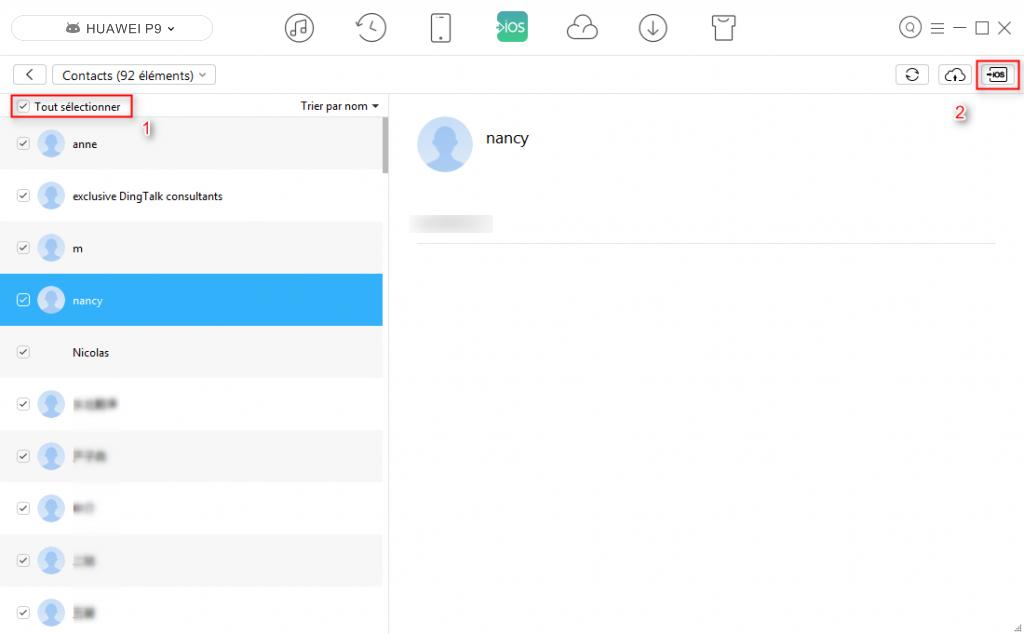 Moyen sur le transfert de contacts HUAWEI vers iPhone - étape 3