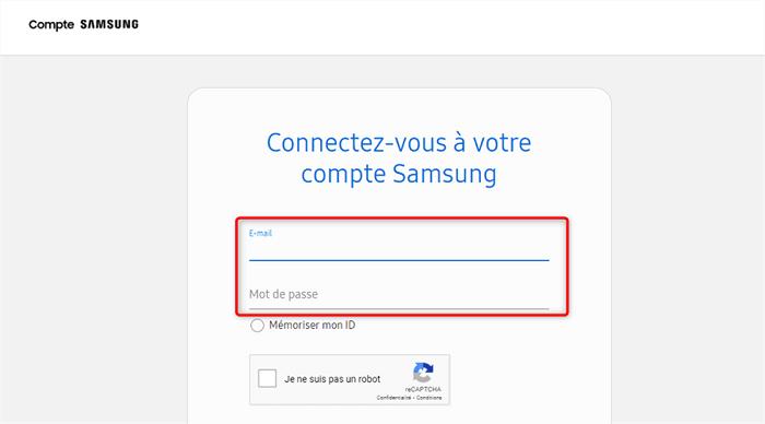 Accès au compte Samsung Cloud
