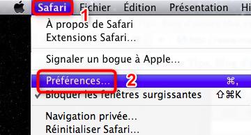 Accès aux préférences de Safari