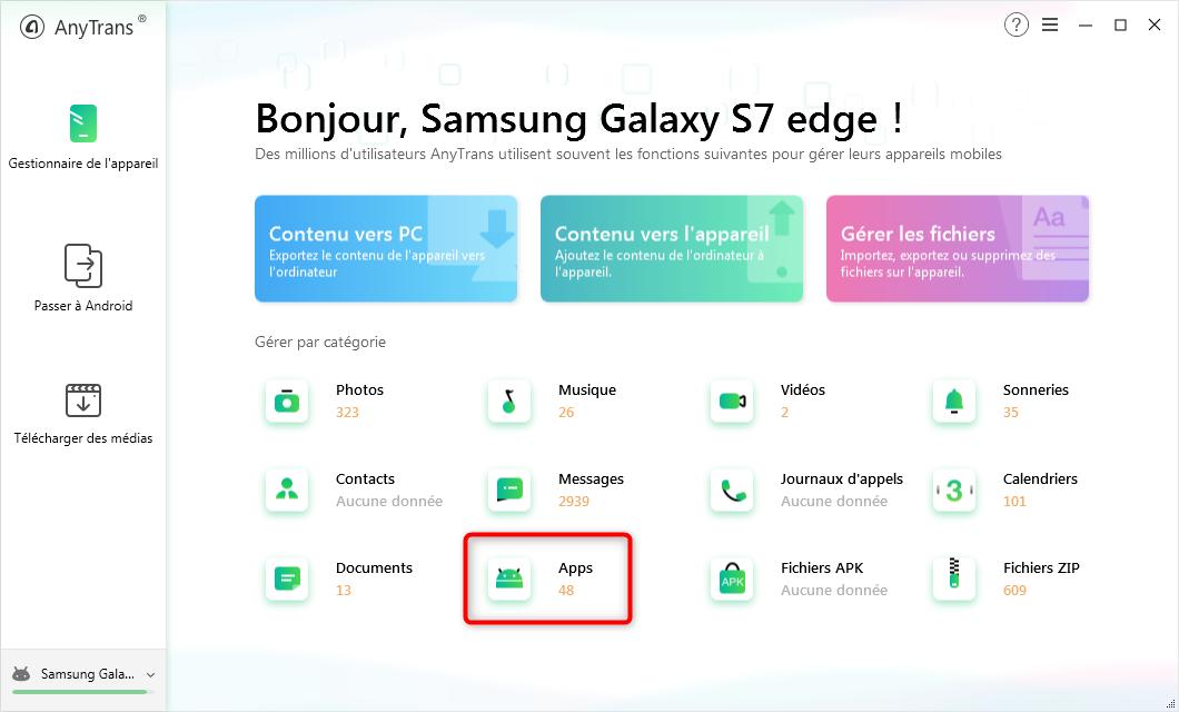 Accès aux applications du mobile Android - étape 1