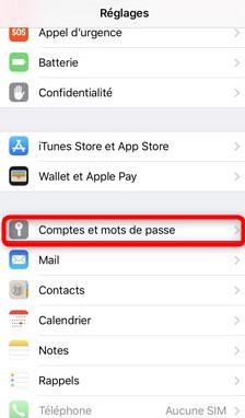 Accès au comptes existants sur l'iPhone