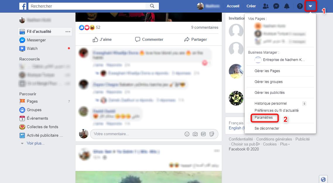 Accès aux paramètres Facebook - étape 1